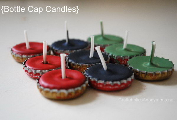 These bottle cap candles are perfect for lighting cozy outdoor areas or packing for camping.