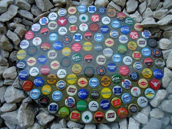 Bottle Cap Stepping Stone,