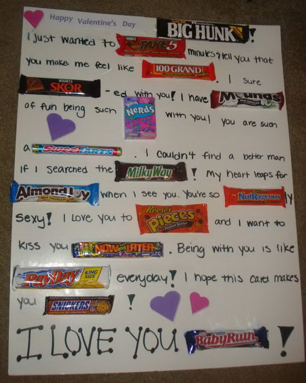 DIY Candy Bar Valentines Card,