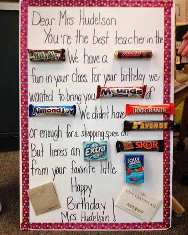 Candy Bar Card for the Teacher,
