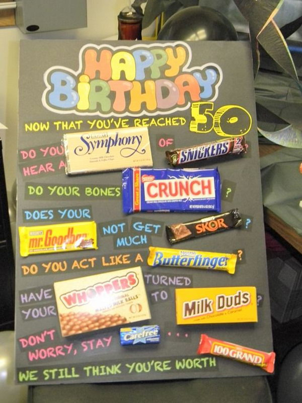 50th Birthday Poster Made with Candy Bars,
