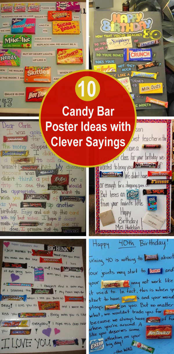 10 Candy Bar Poster Ideas with Clever Sayings.