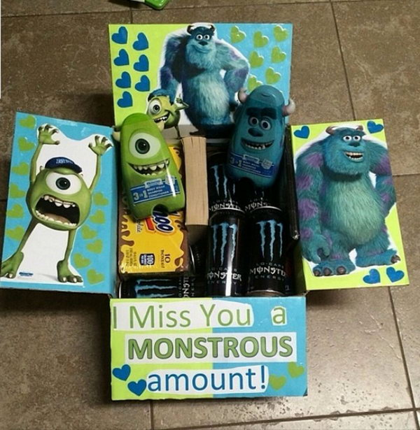 College may be tough but it can also be fun when they open your going away gift filled with Monster University stuff.