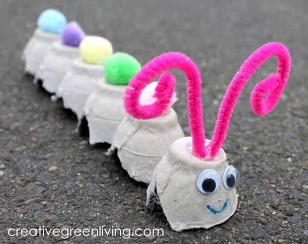 Recycled Egg Carton Caterpillar,