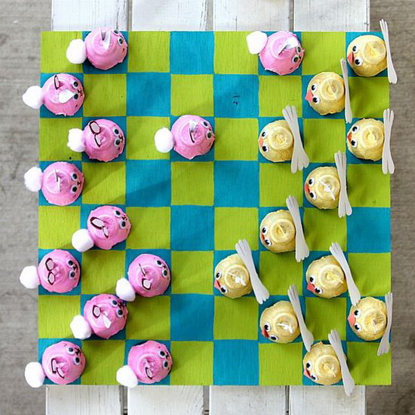A creative game of checkers made from egg cartons,