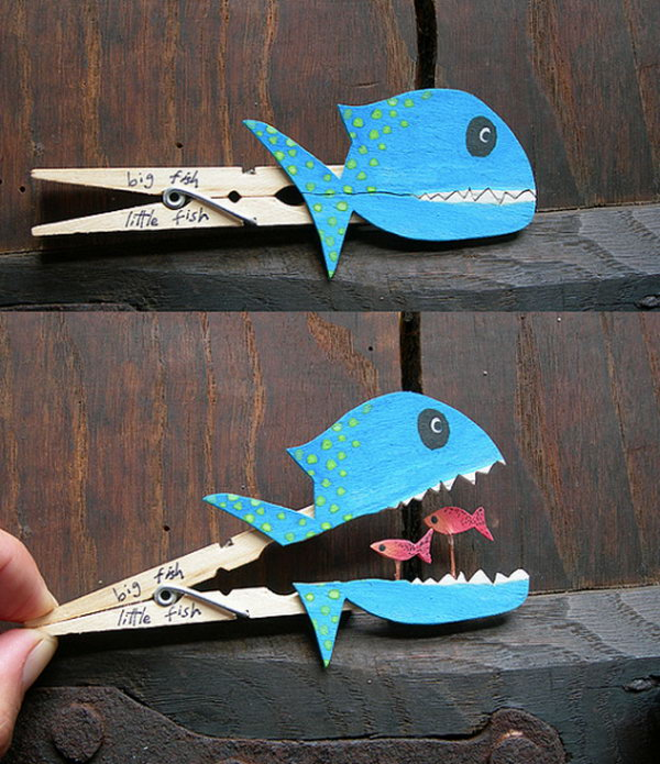 Kids would surely love these clever fish crafts made with clothespin.
