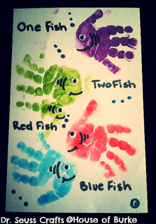 What better way to memorialize your child's growth than by making this fish craft with your kid's hand print.