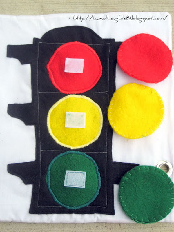 A simple and fun color matching stoplight page. Whenever silence is required, keep your child entertained with your own fun and creative quiet book.