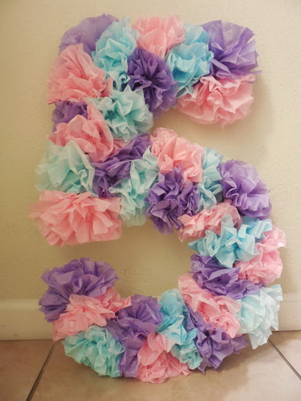 Tissue paper birthday number,