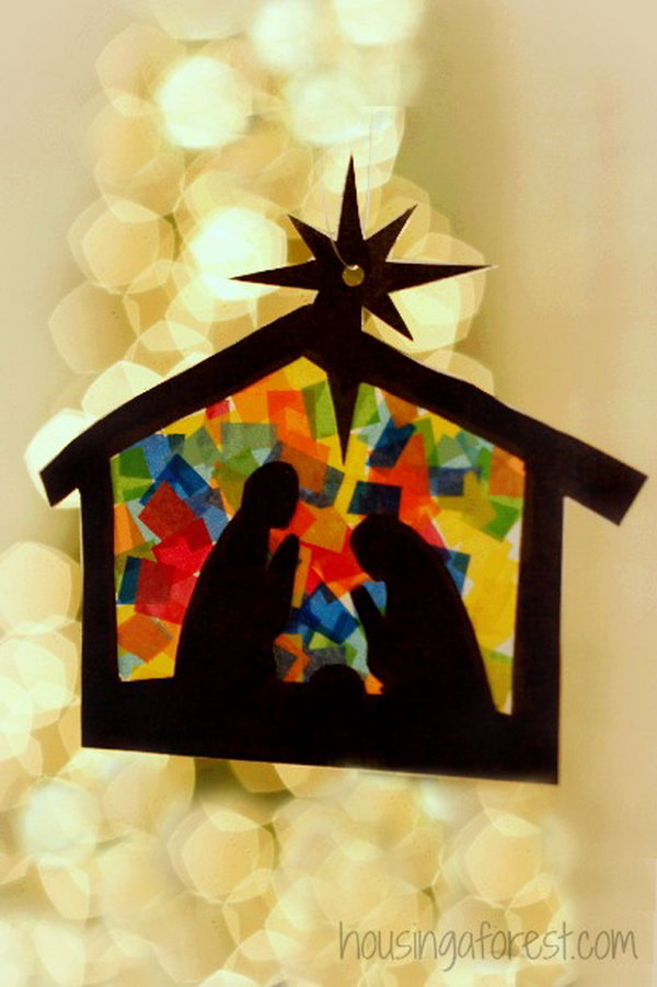 These stained glass nativity crafts would look great as gift tags or on special Christmas cards.