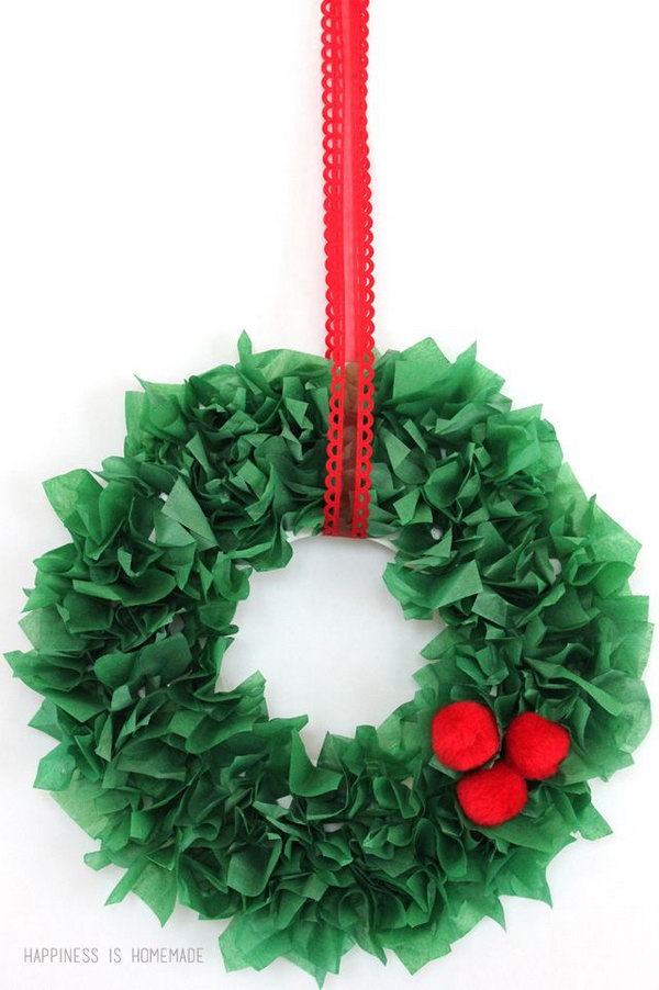 These tissue paper wreaths are easy and inexpensive to make, and they make great homemade holiday gifts for the kids to give to Grandma!