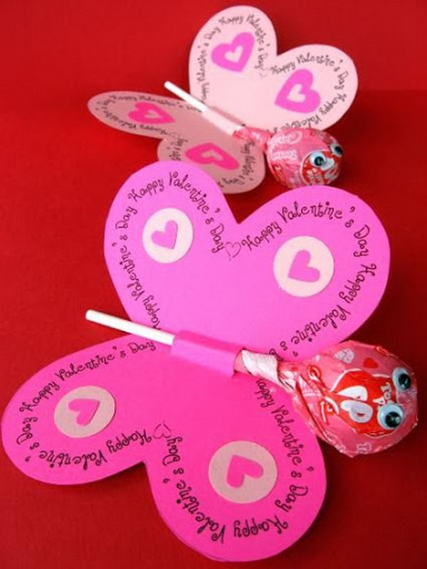 Lollipop Butterfly Valentine Day Card. Creative Valentine Cards that stand out from those of his classmates through the use of clever, interesting sayings. A fun play on words.