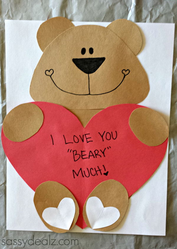 'I Love You Beary Much' Valentine Bear Craft For Kids