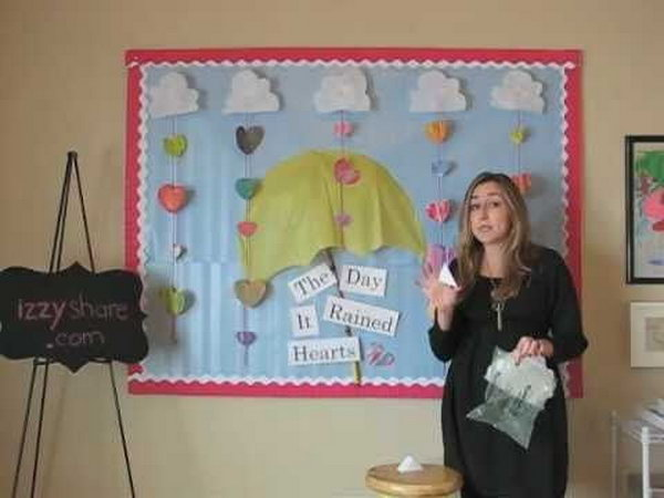 This Valentine's Day bulletin board was designed around the book The Day It Rained Hearts.