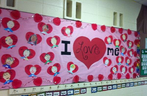 I Love Me is a lovely idea for Valentine's Day bulletin board display. This teacher had students design self portraits inside of hearts. On either side of the hearts, students wrote adjectives describing themselves.
