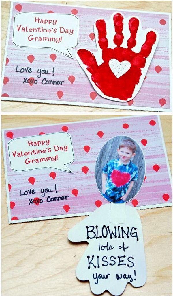 Handprint Valentine's Day Card - Blowing Kiss Your Way,