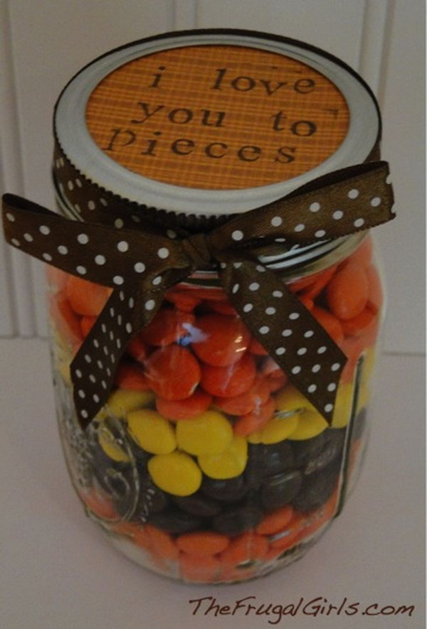 I Love You To Pieces. Gifts in a jar are so simple to make, and SO fun to receive!