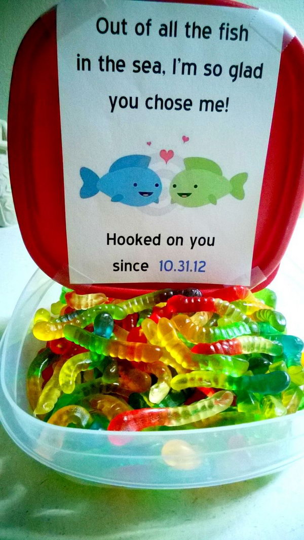 Out of all the fish in the sea, I'm so glad you chose me! What cute Valentines Day idea with all these colorful candy worms and lovely messages.