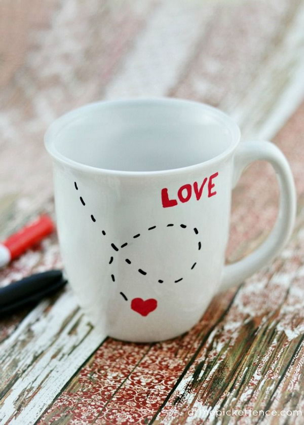 You can easily make this love mug yourself! All you need is an inexpensive mug, paint pens and an oven!