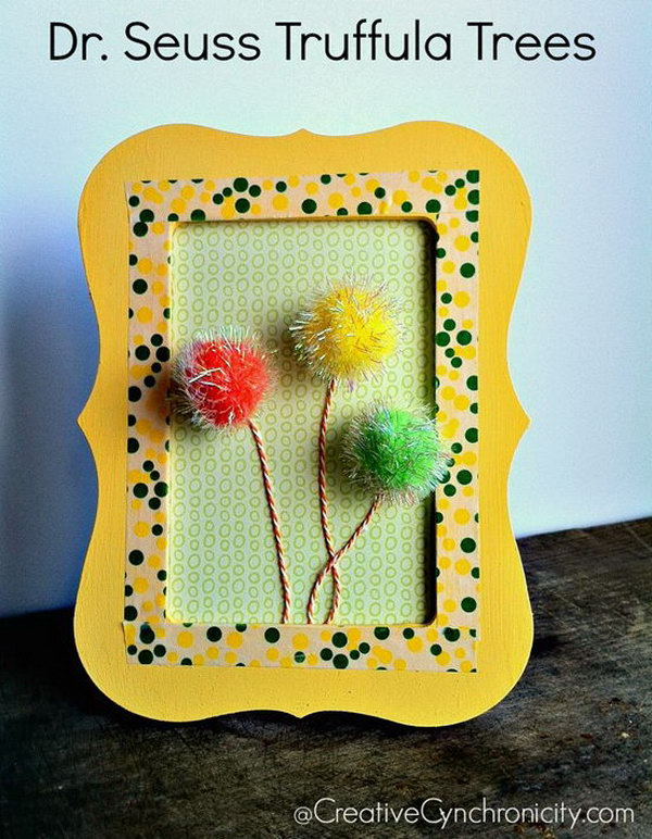 These Dr. Seuss framed truffula trees are fun for a kid's room or a Dr. Seuss party. It is so simple and you can make it in under 15 minutes.