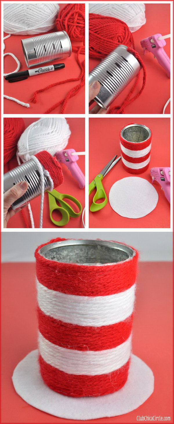 Turn a recycled aluminum can into a cute wrapped yarn pencil cup craft. The book that inspired this craft is 'The Cat in the Hat'.