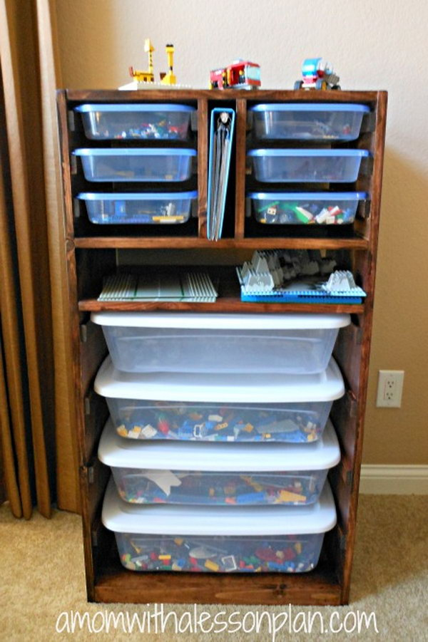 DIY Lego storage solution.