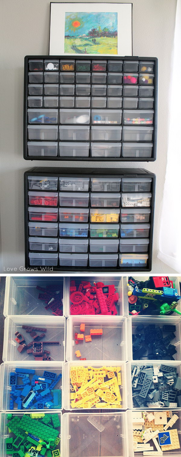 Put the organizer with drawers on the wall. Keep all the Lego pieces organized by color.