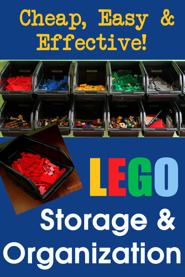 Cheap and easy LEGO storage organizer. Use the metal rail to hang these black plastic hanging storage bins on wall. The bins are removable from the rail so that the kids can easily take them off and find what they're looking for.