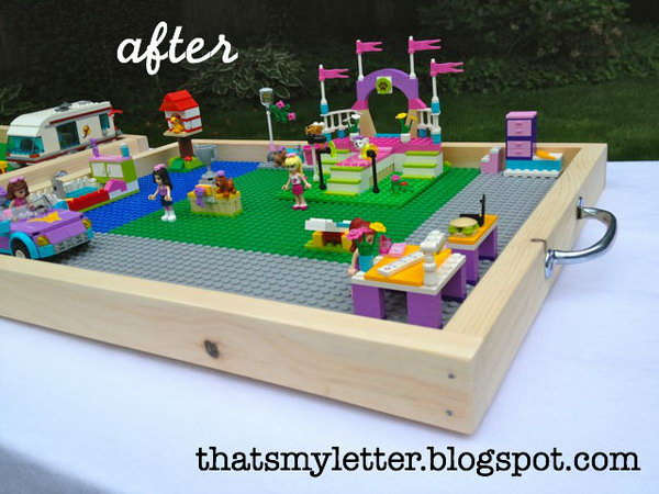 Make your Lego builds on a portable tray AND move all the pieces for easy clean up without destroying their hard work.