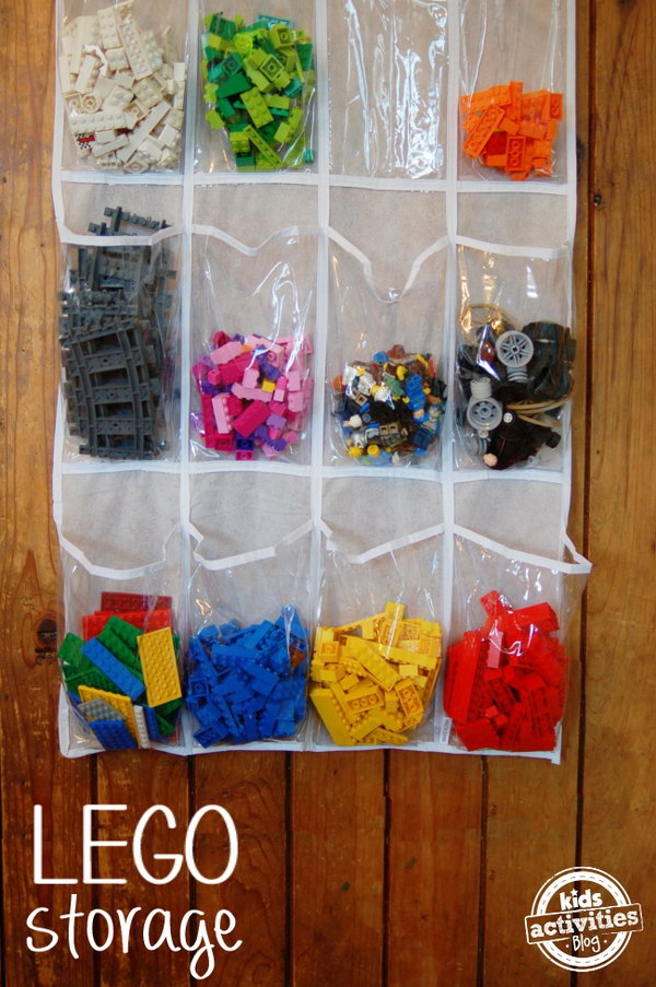 Make storing and organizing Lego bricks a snap using a shoe storage bag.