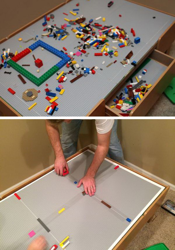 Convert your train table into a LEGO table. The best part about this upgrade is that the insert sits on top of the table, so it can be removed and used as a train table again whenever you want.