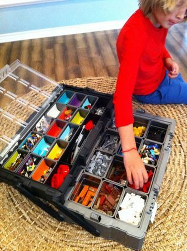 Use a tool chest as portable lego organizer. The removable containers make it easy to clean and sort.