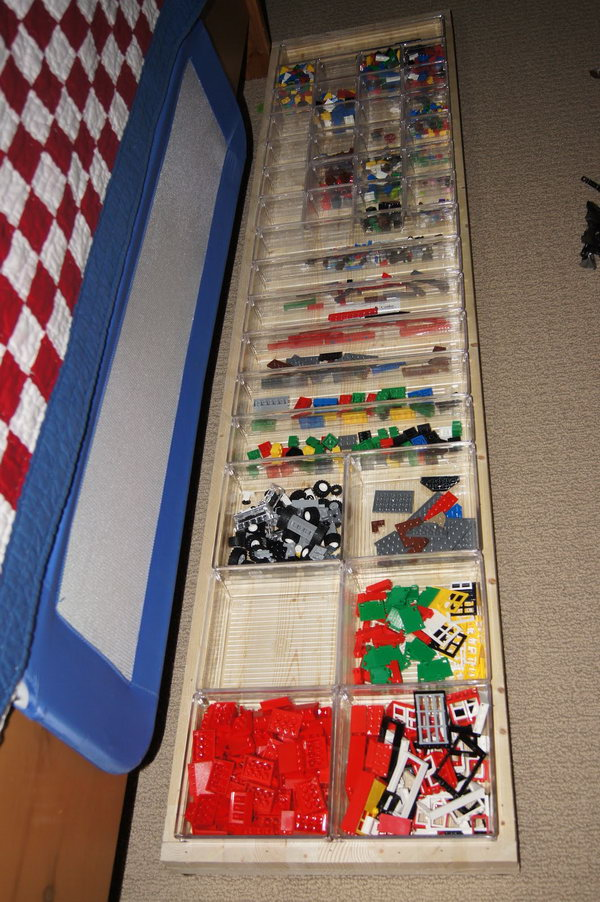 Lego organization using drawer organizers, which are made to fit together perfectly and dimensionally to fit any area.