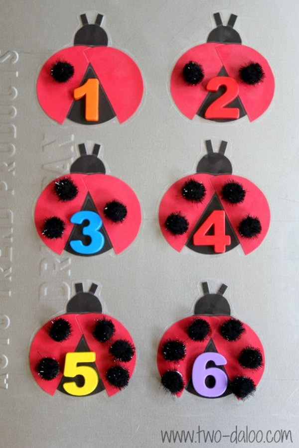 Make a fun and easy magnetic ladybug counting interactive bulletin board. These colorful ladybugs are sure to engage your toddler or preschooler in one-to-one correspondence, matching number symbols to quantities, fine motor practice, and learning about insects in a playful way.