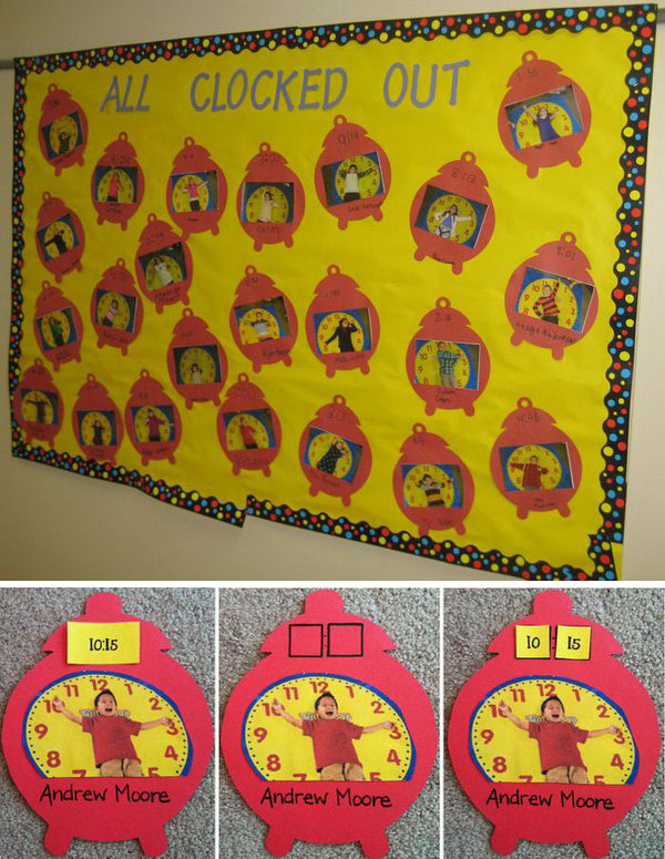 This elementary math bulletin board is a fun idea to teach students about time. They will have a blast using their body to display the time called out. Consider providing time strips or number tiles for students to match and attach.