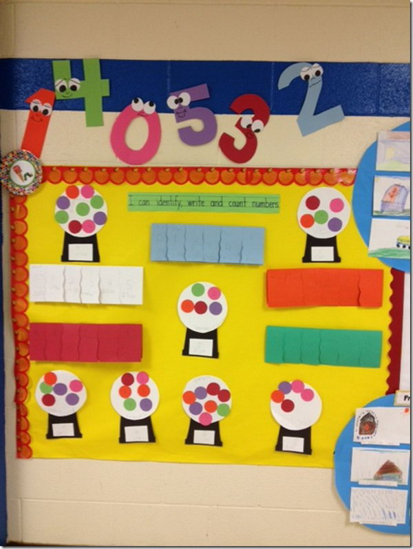 Identify, write and count numbers. What a cute math bulletin board idea with gumballs.