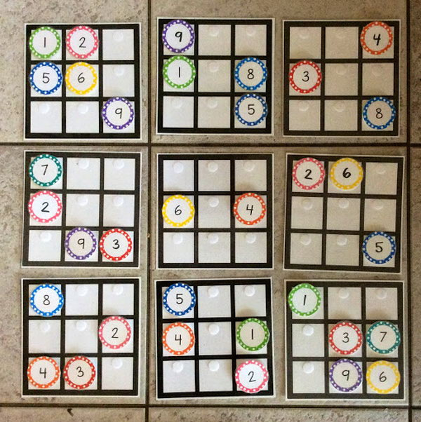 This sudoku puzzle interactive math bulletin board is really a fun idea for high school students. There are velcro tabs on the puzzle so you can change it around as often as the puzzle gets solved.