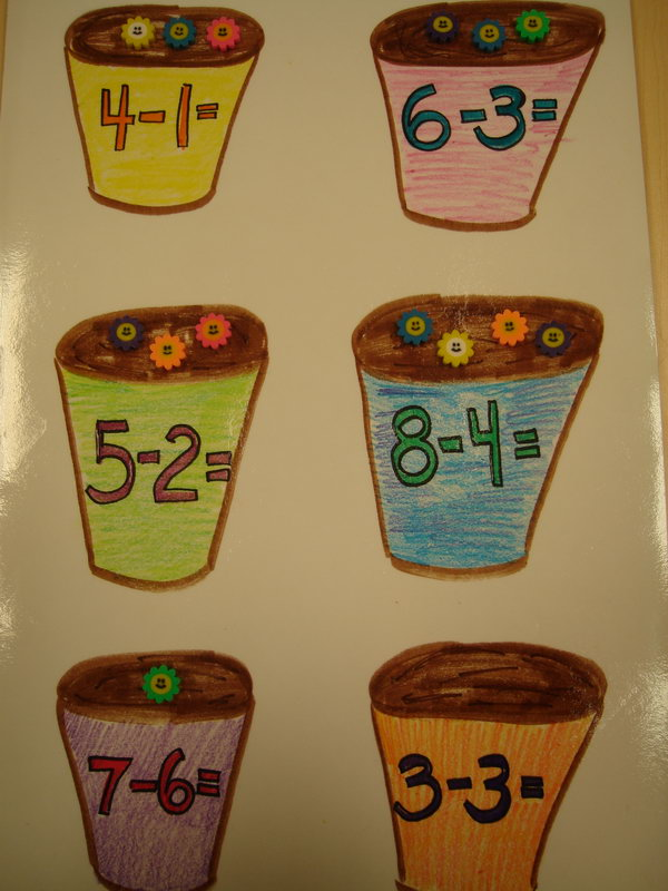 This flower pot bulletin board can be used for number identification and counting. Children place the correct number of flowers in each cup according to the number written on it.