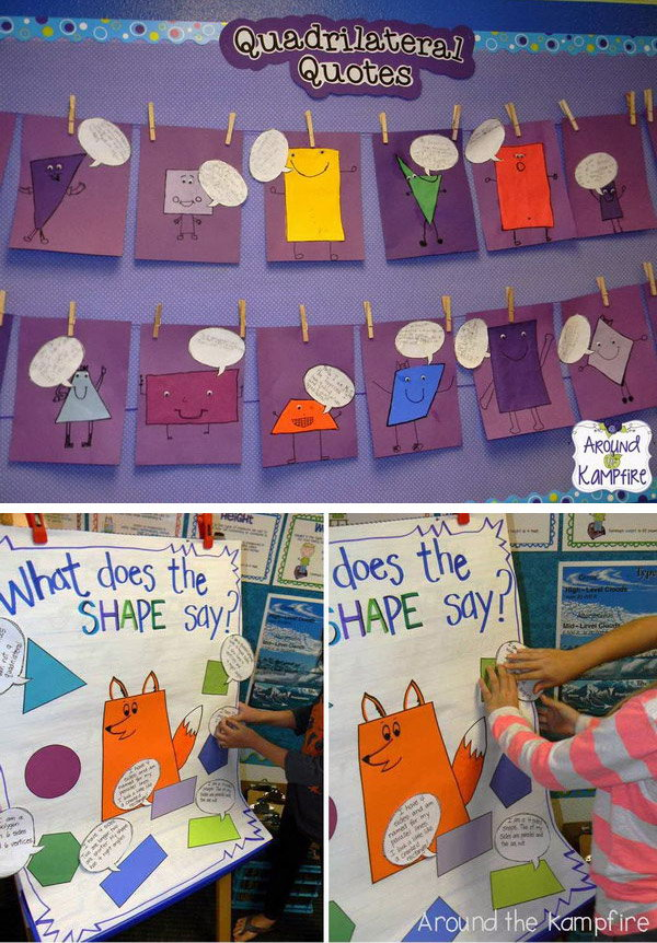 This math bulletin board is a fun way to teach students about 2D shapes and have them remember the attributes of the shapes.