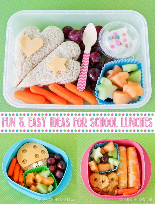 Use cookie cutters to make the sandwich, cheese and fruits different. Make sure the kids actually eat the lunches.