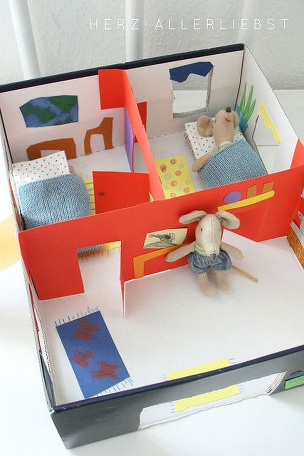 Shoebox doll house for kids,
