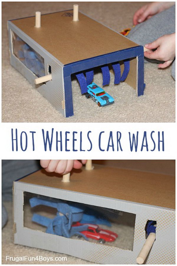 What a perfect rainy day project to turn a shoe box into a car wash for hot wheels.