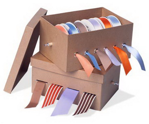 Make the ribbons untangled and ready to use with this easily made shoe box organizer.