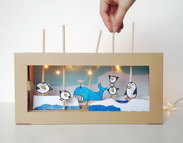 Create a charming shoebox puppet theater with working lights. It's a blast to make and perfect for impromptu imaginative play, even after the lights go out.