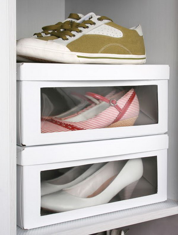 Turns a regular cardboard box into shoe storage with a window. This clever storage idea from Juditu couldn't be more simple.