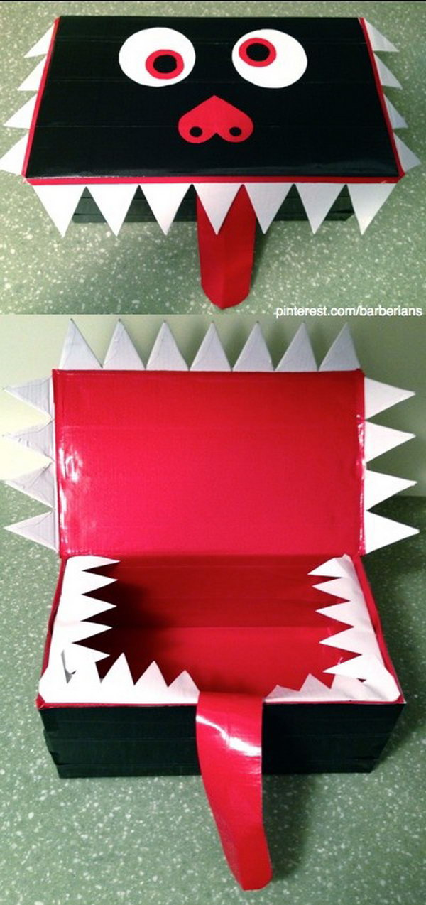 Valentines Day Monster Card Box for Kids. Made with a shoe box and duct tape.