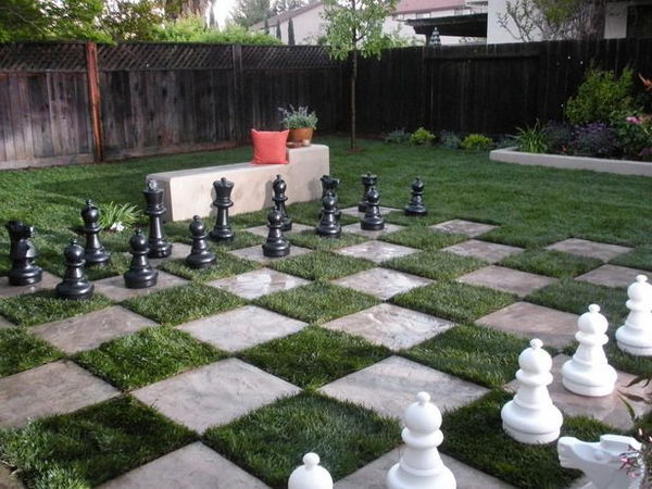 Giant Chess Board in Backyard. Interesting things to do out there in your backyard. So simple and cheap to make, and you could play them with your kids or family anytime.
