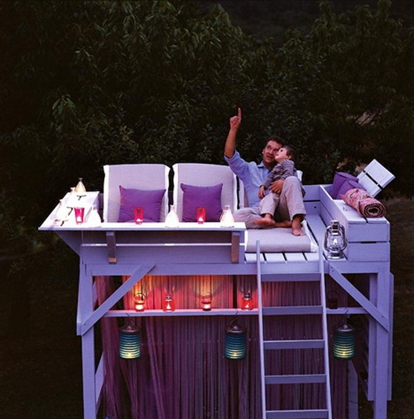 Turn an Old Bunk Bed into a Stargazing Treehouse. Interesting things to do out there in your backyard. So simple and cheap to make, and you could play them with your kids or family anytime.