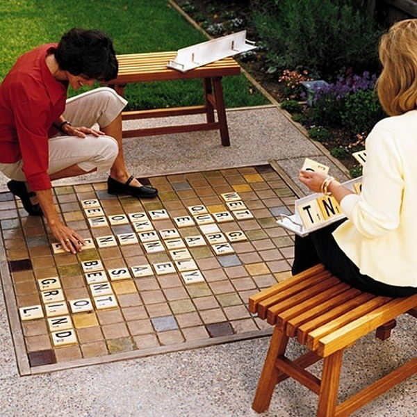 Giant Scrabble Game Board. Interesting things to do out there in your backyard. So simple and cheap to make, and you could play them with your kids or family anytime.