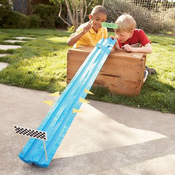 Marble Run Game. Interesting things to do out there in your backyard. So simple and cheap to make, and you could play them with your kids or family anytime.